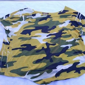 Cleo Camouflage Army Green Yellow Black Shirt SZ L